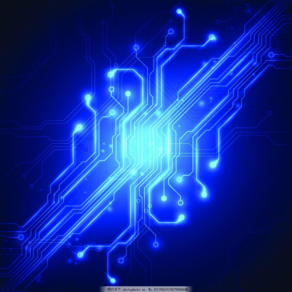 科技发光电路板ppt背景矢量素材 创意 蓝色 卡通 背景素材