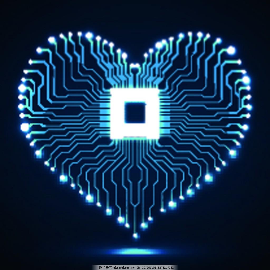 led爱心科技电路板ppt背景 发光 爱心 电路板 矢量 卡通 背景 素材