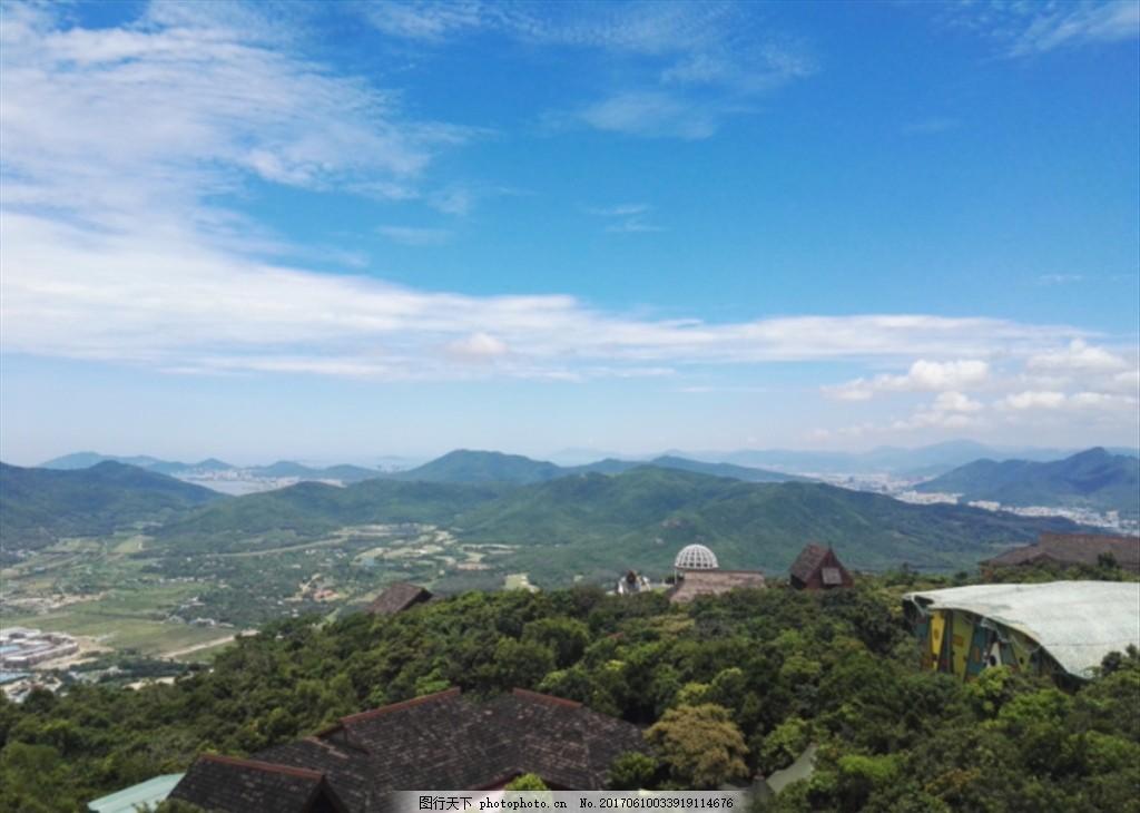 山顶风景 三亚 海 顶视图 蓝天 白云 天空 夏天 摄影 国内旅游