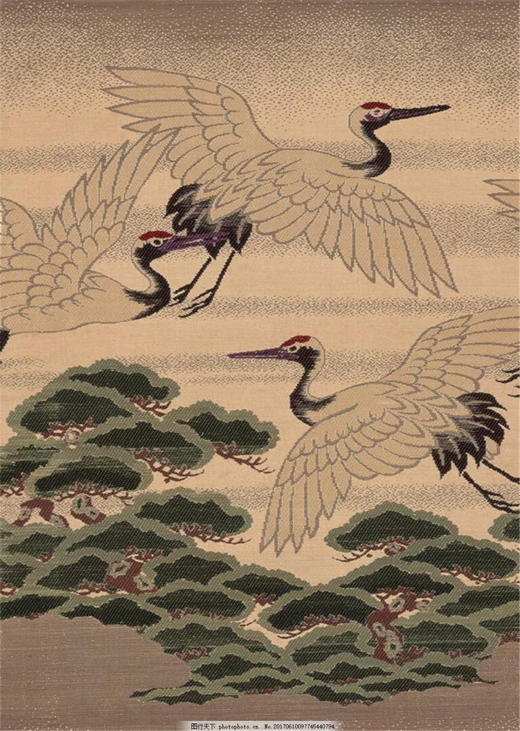 布纹白鹤迎客松壁纸