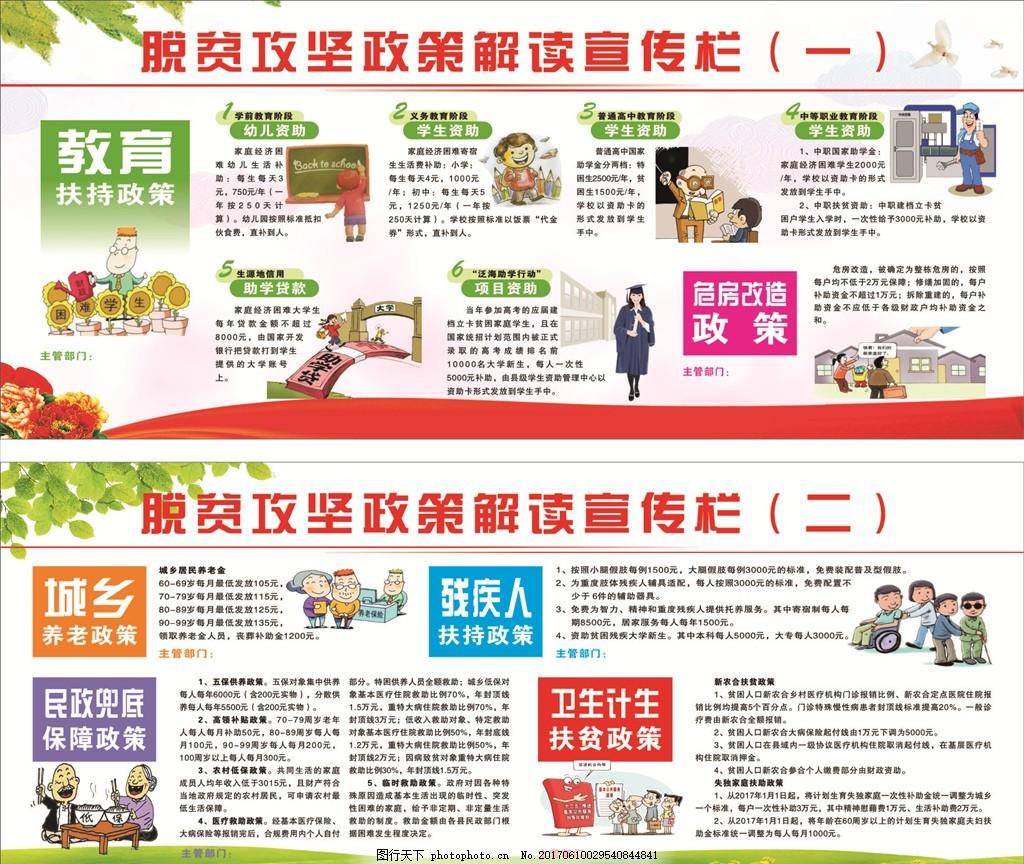 扶贫攻坚 展板背景 绿色背景 扶贫政策 扶贫宣传栏 卡通 展板素材