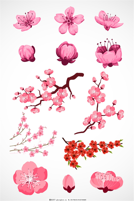 手绘粉色桃花