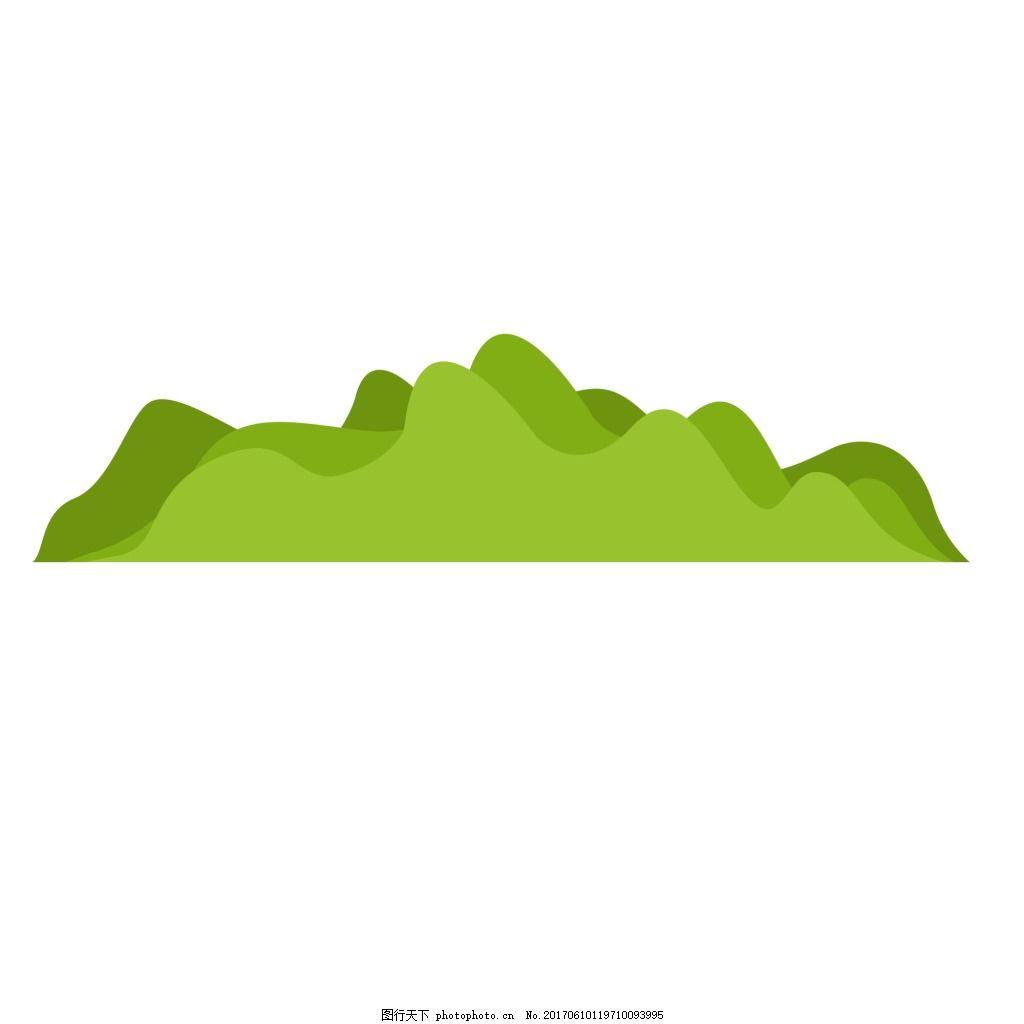 抽象绿色山脉元素 手绘 山峰