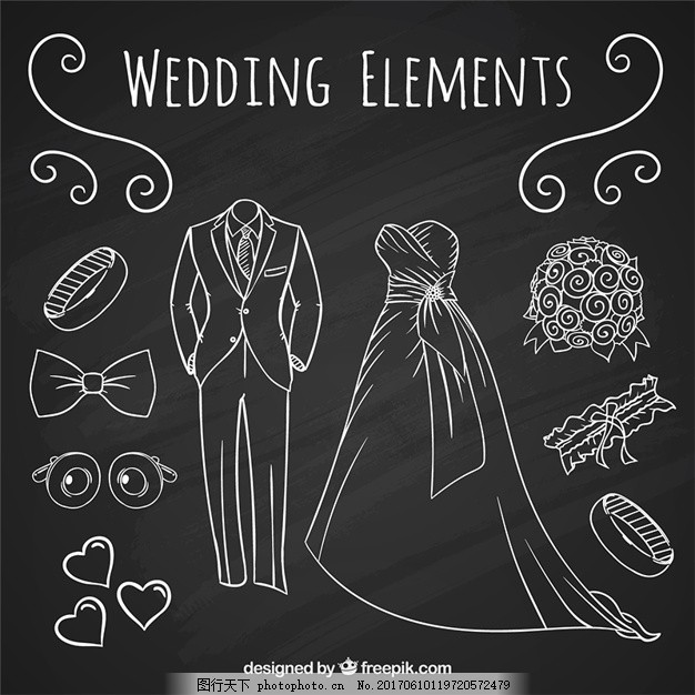 手绘饰品与婚纱礼服和新娘 婚礼 婚礼请柬 邀请党 爱 黑板 庆典