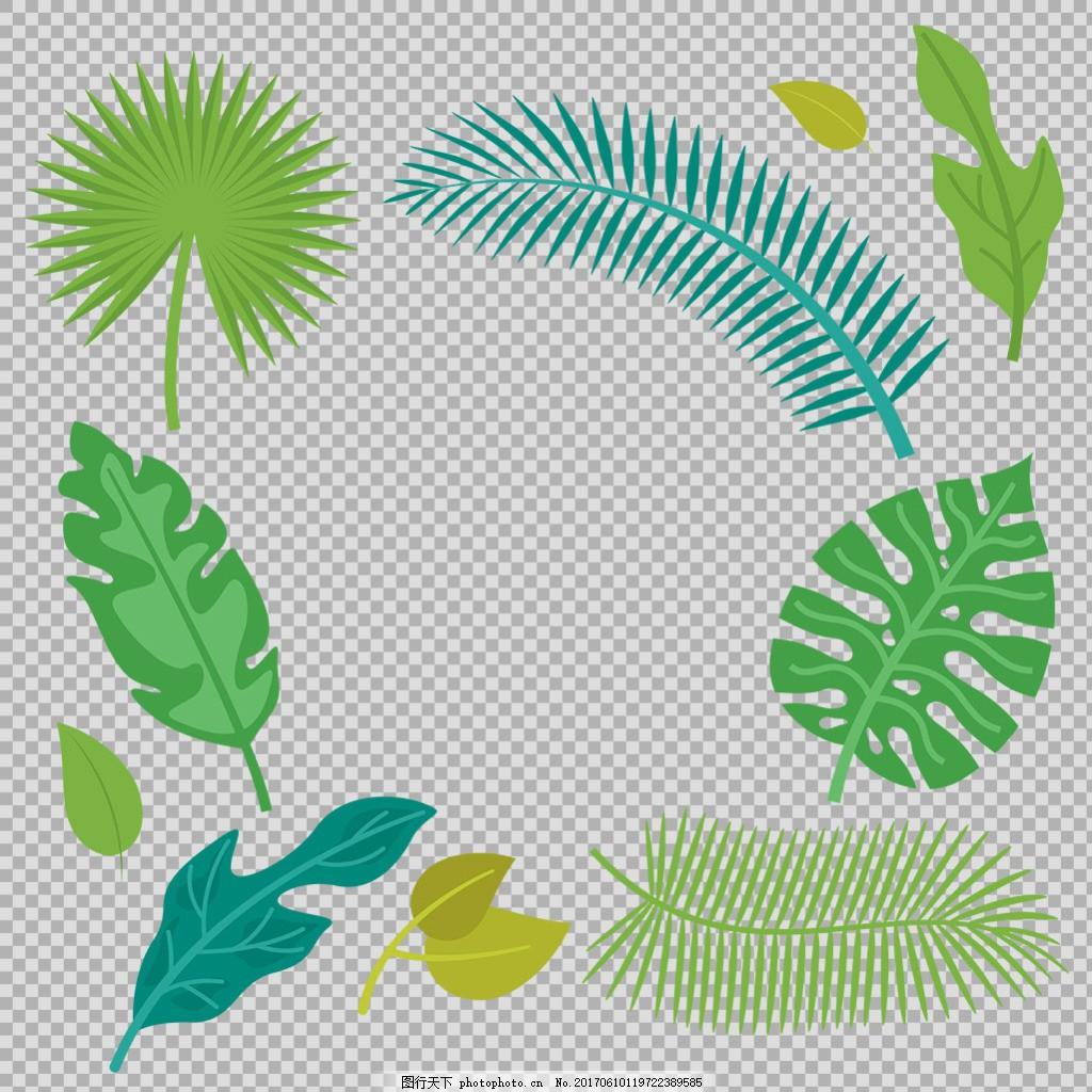 各种形状叶子插画免抠png透明图层素材 春天素材 清新树叶 植物 绿色