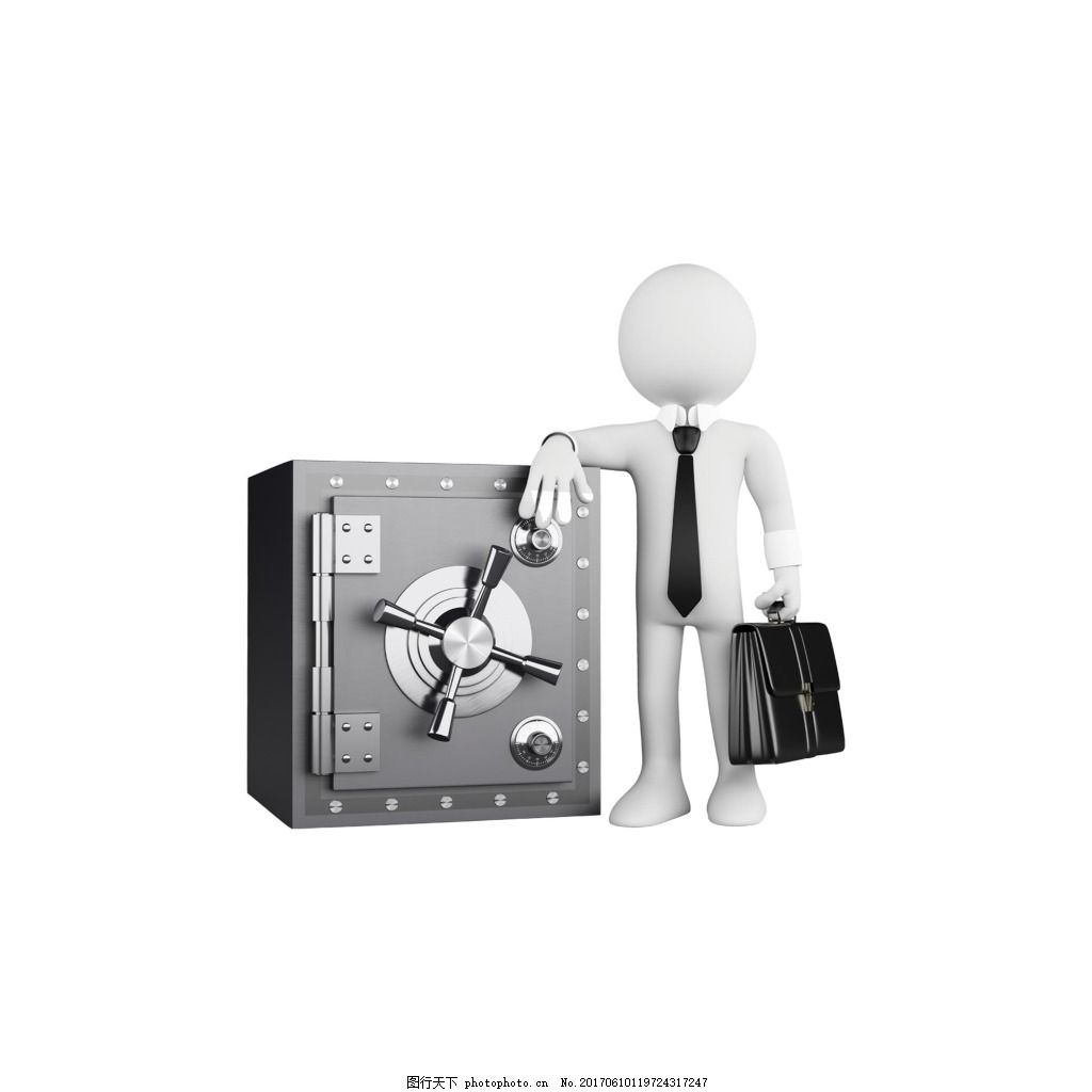 3d保险箱小人元素 手绘 立体 工作 公文包 铁质