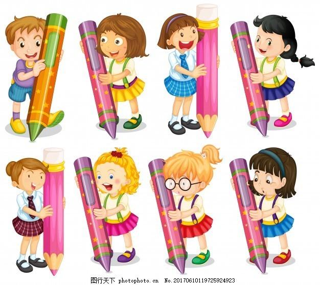 孩子拿铅笔的插图 学校 人 孩子 学生 可爱 快乐 绘画 插图 写作 学校