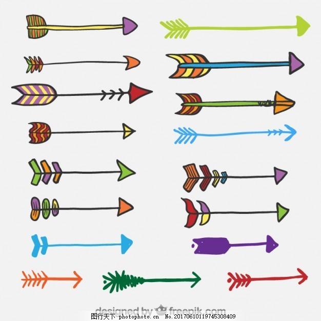 手绘彩色箭 箭头 羽毛 印第安人 绘画 民族 部落 文化 美国