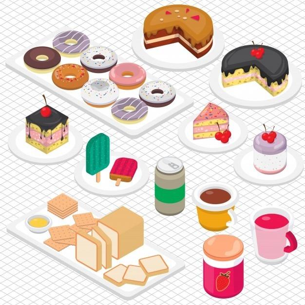 三维立体图形中的甜点图解图片