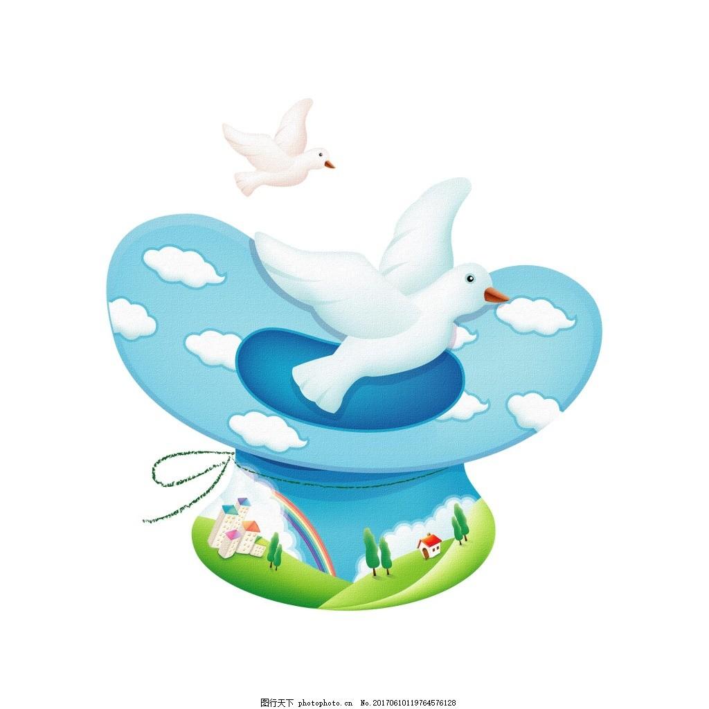 手绘卡通蓝天白云图案元素