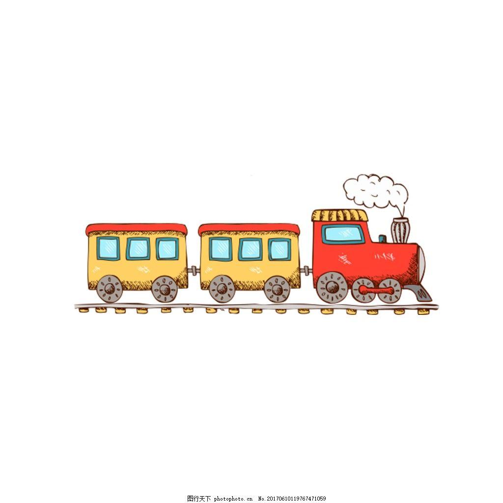 手绘小火车元素