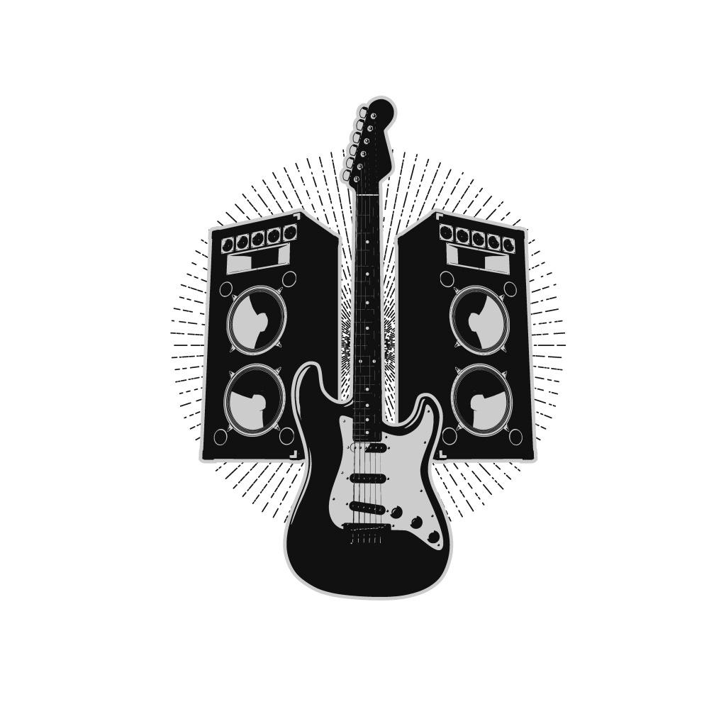 手绘吉他音响元素 黑色 光晕 线条 音乐 矢量