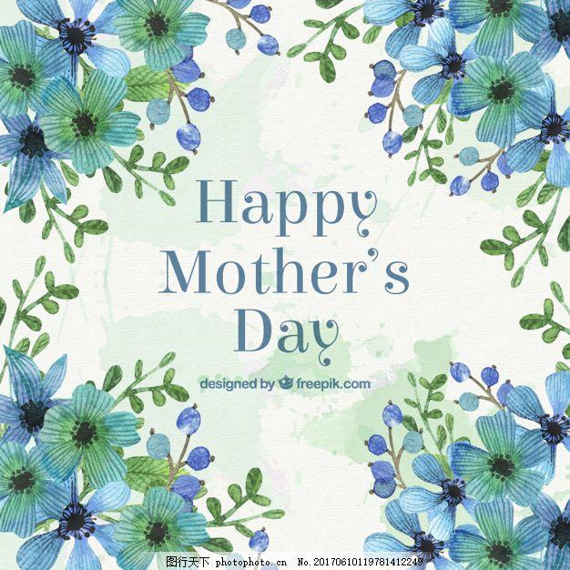 手绘蓝色花朵母亲节贺卡