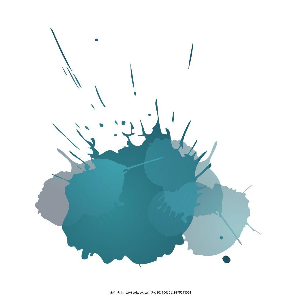 手绘水墨晕染元素 水墨画 墨绿 矢量 晕染 墨迹 渐变 素材