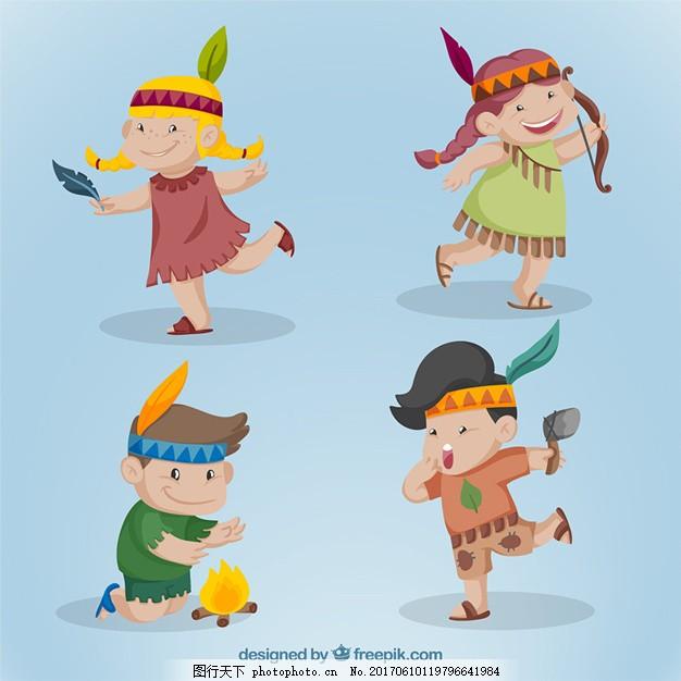 可爱的印度儿童系列 人 孩子 性格 快乐 游戏 朋友 男孩 印第安人