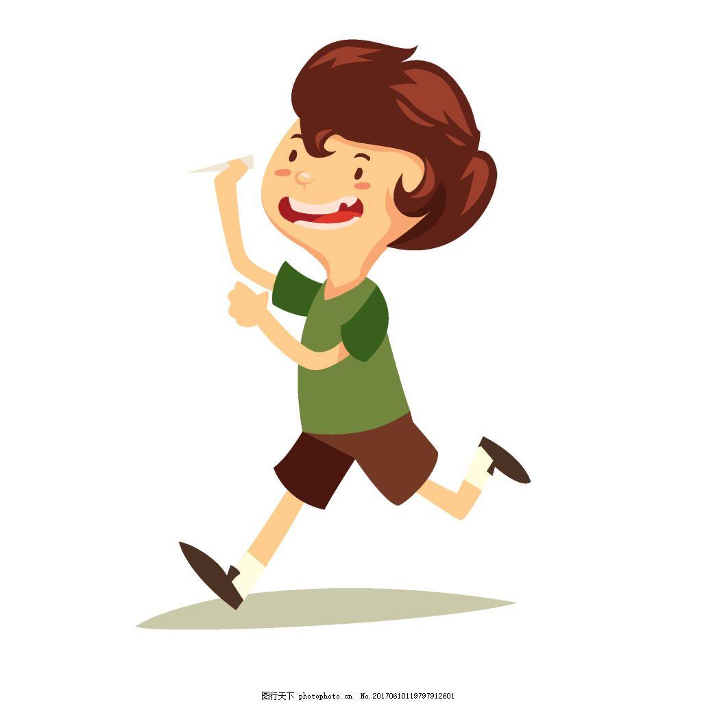 手绘儿童奔跑元素