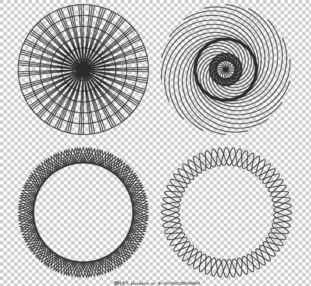 抽象对称圆形花纹免抠png透明图层素材 圆形花边边框 圆环边框