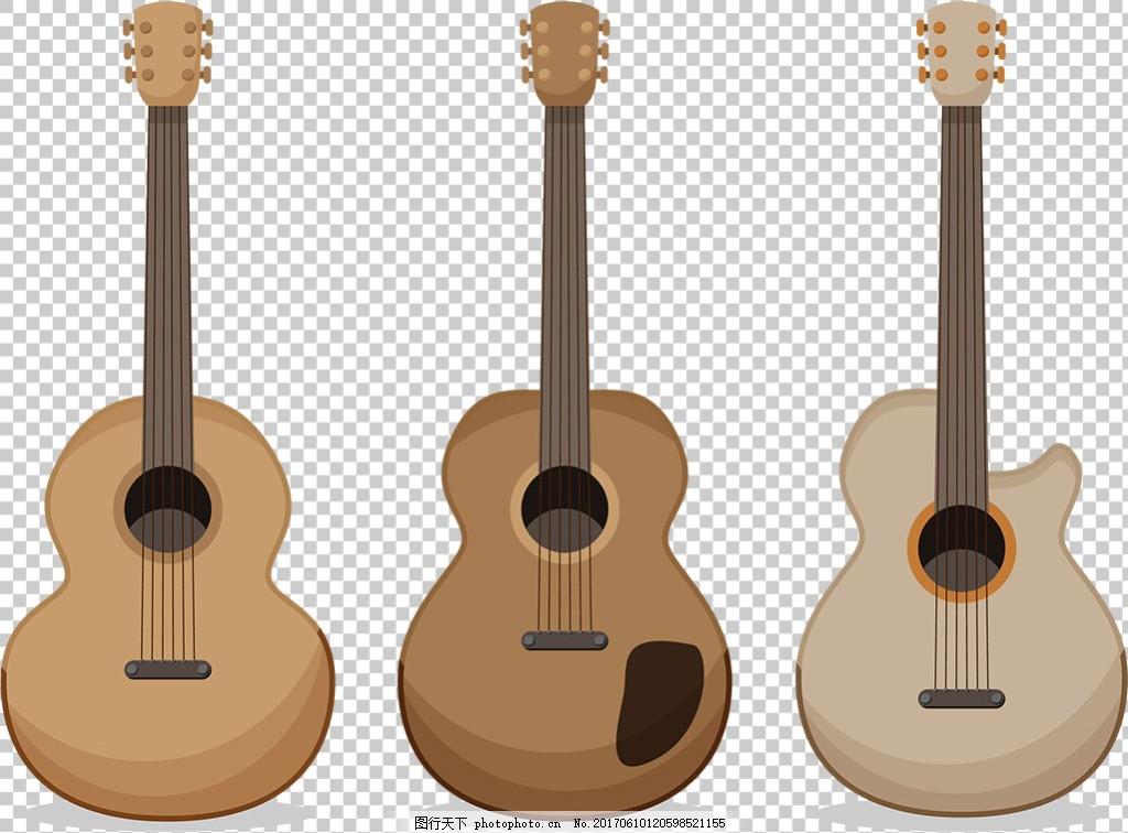 手绘木吉他插图免抠png透明图层素材