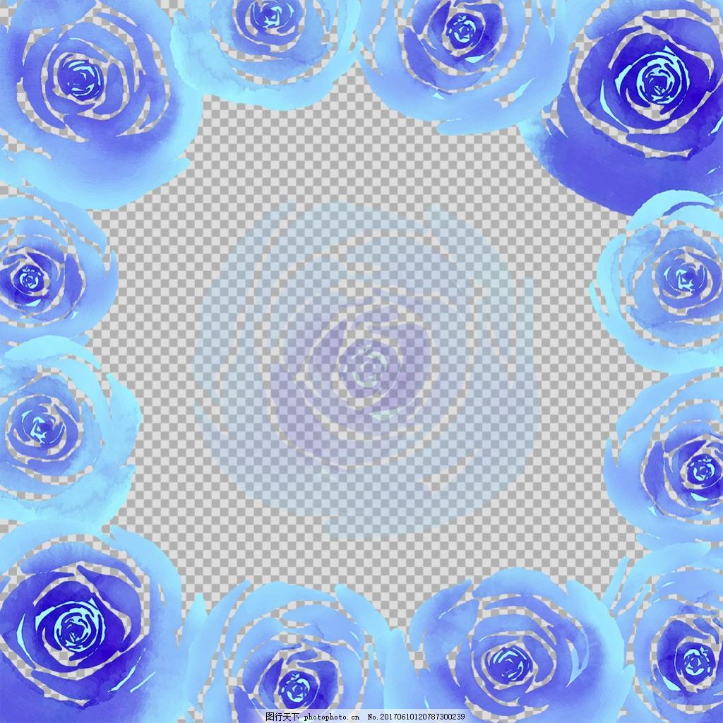 蓝玫瑰鲜花边框免抠png透明图层素材 淘宝边框花边 花纹素材 欧式花纹