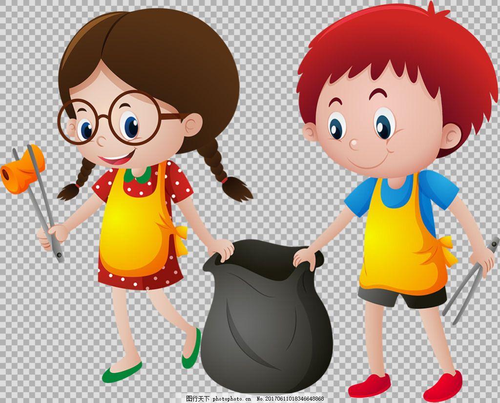 捡垃圾的学生小孩免抠png透明图层素材