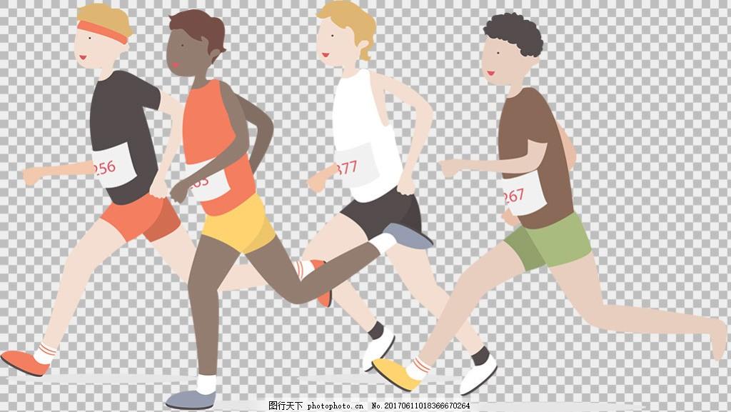 设计图库 动漫卡通 动漫人物  手绘不同人种跑步者免抠png透明图层