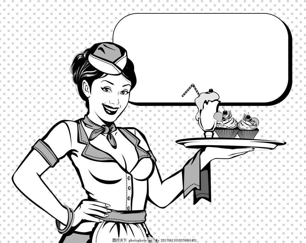 蛋糕 国外 黑白 动漫 人物 漫画 卡通 形象 手绘 对话框 分镜 矢量 素