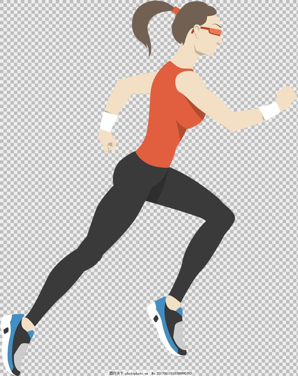 手绘美女跑步者免抠png透明图层素材 卡通奔跑的人 运动会 励志