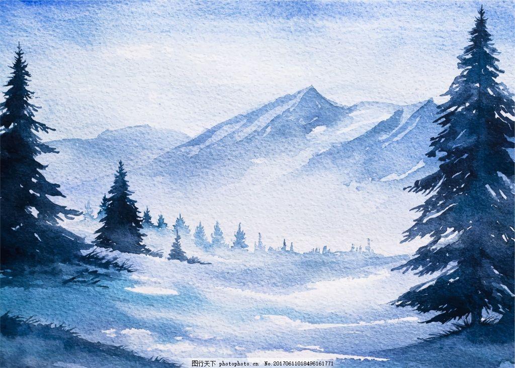 风景童话水彩画冬季森林河边矢量素材图片