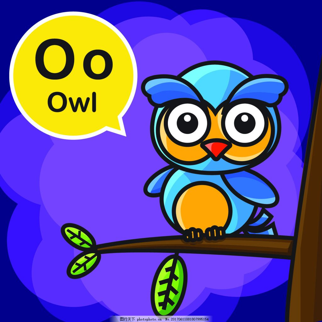 猫头鹰卡通小动物矢量背景素材 蓝色 夜晚 英语 幼儿园 教学 学习