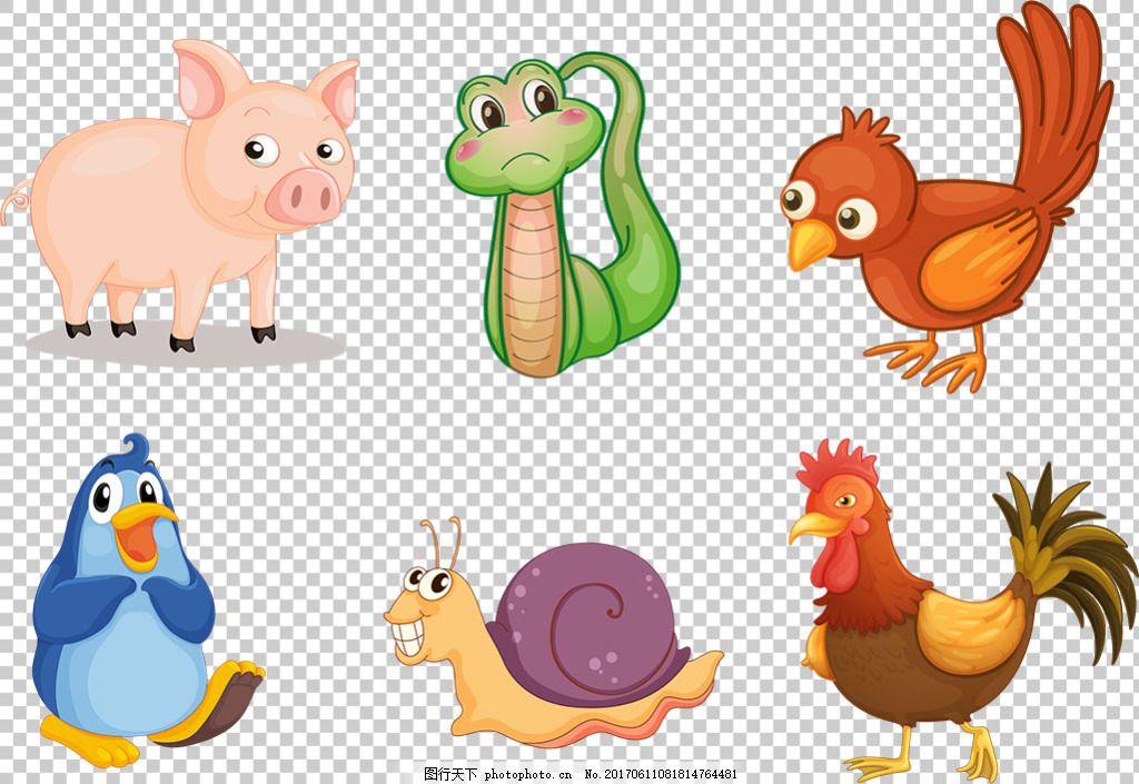 可爱动物卡通风格免抠png透明图层素材