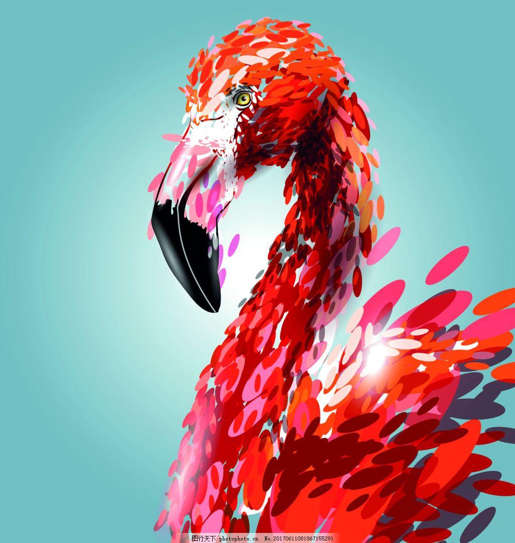 艺术卡通手绘火烈鸟矢量素材