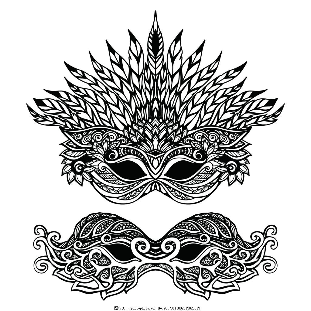 花边 羽毛 黑白 欧美 手绘 艺术 精细 铅笔画 纹理 插画 印刷 卡通