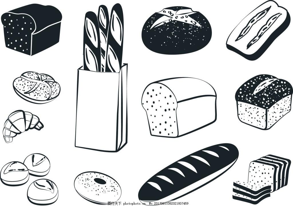 手绘黑白面包图案矢量素材