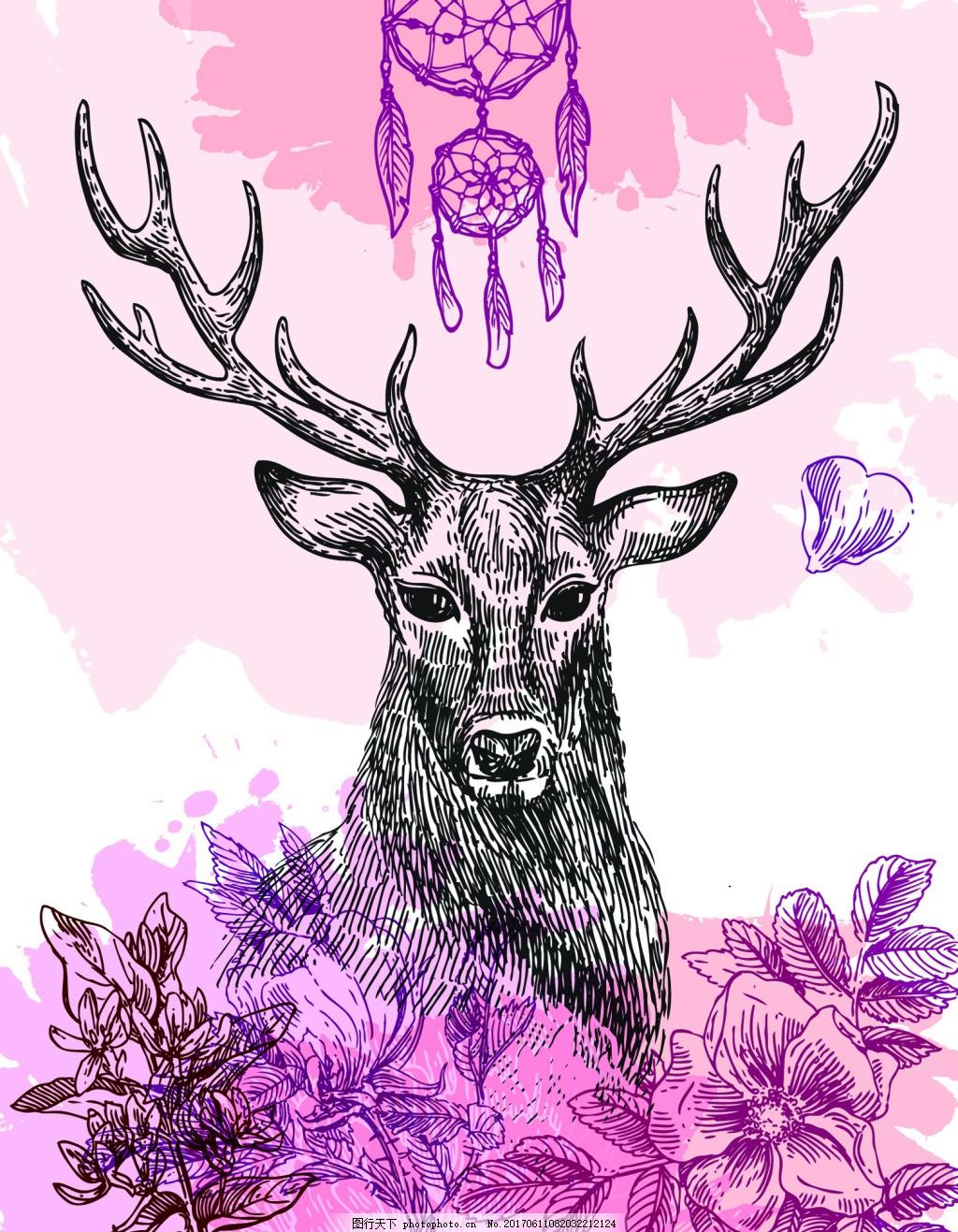 紫色森系鹿角小鹿手绘插画eps矢量素材
