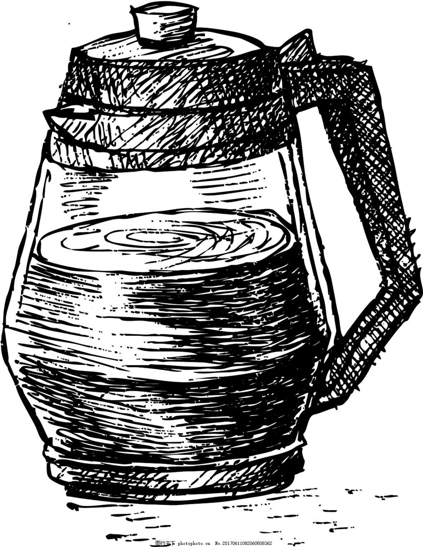 杯子 铅笔画 手绘 冰淇淋 夏天 黑白 设计 矢量 背景 源文件 素材