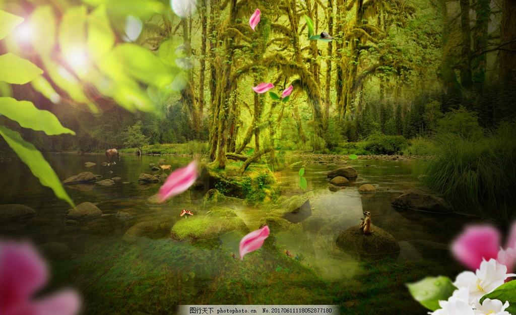 清新叶子森林花瓣背景图