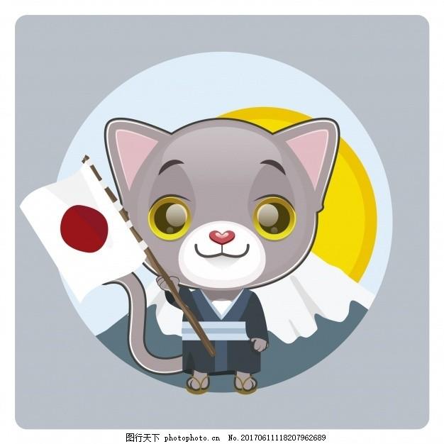 带日本国旗背景的猫 背景 自然 动物 猫 国旗 日本 寿司 文化 传统