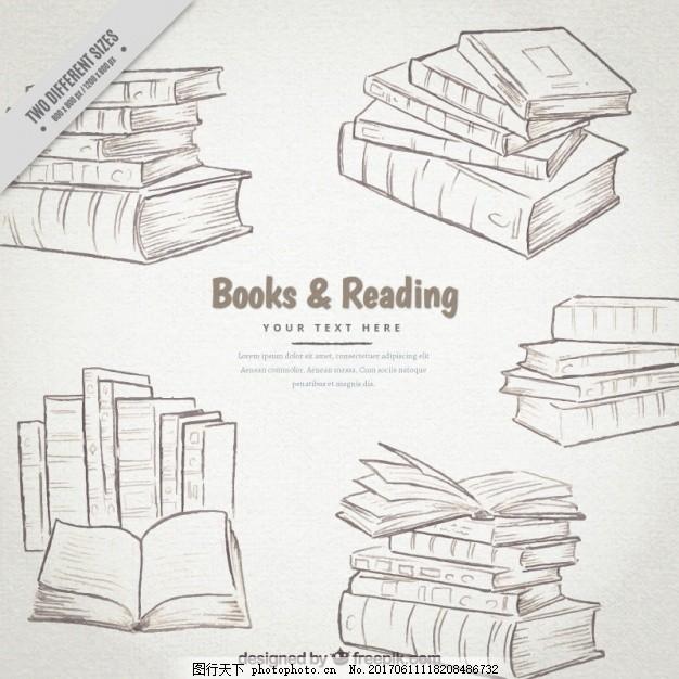 手绘书集 教育 世界 书籍 创意 绘画 学习 图书馆 写作 阅读