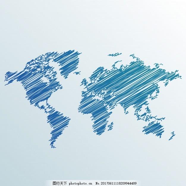 创意涂鸦世界地图