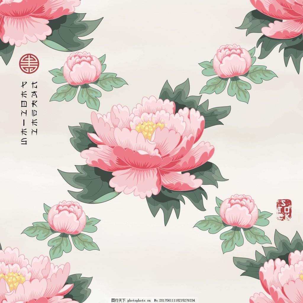 工笔画牡丹背景 底纹 艺术 美术 植物 粉色 花朵