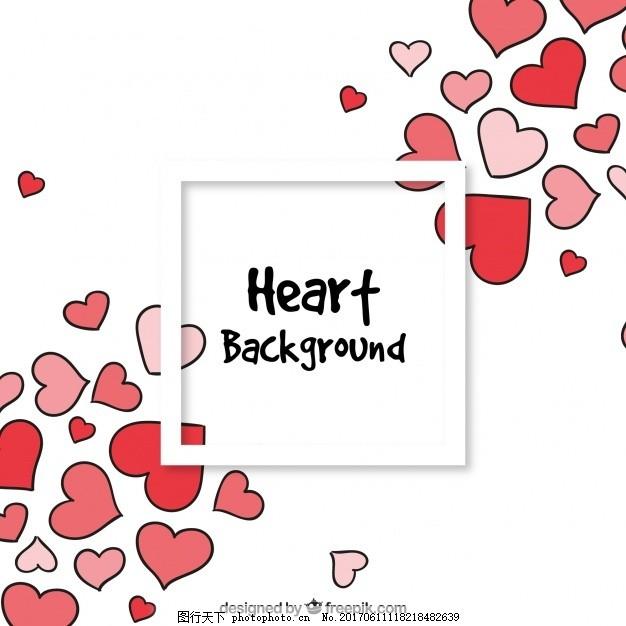 手绘背景 心爱 绘画 浪漫 爱情背景 美丽 吸引 心脏背景 粗略