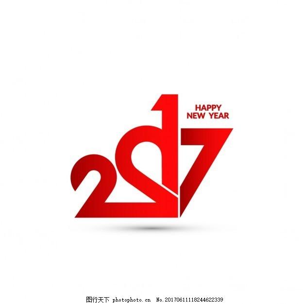红色数字新年背景 旗帜 圣诞节 抽象 党 卡片 模板 几何 印刷术