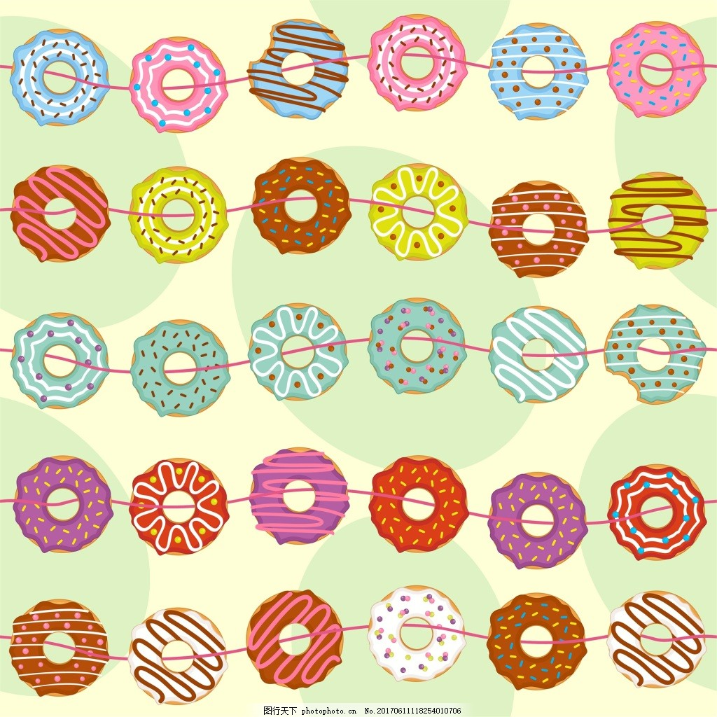 線條 可愛 卡通 手繪 甜甜圈 矢量 背景 填充 紋理 美食 烘培