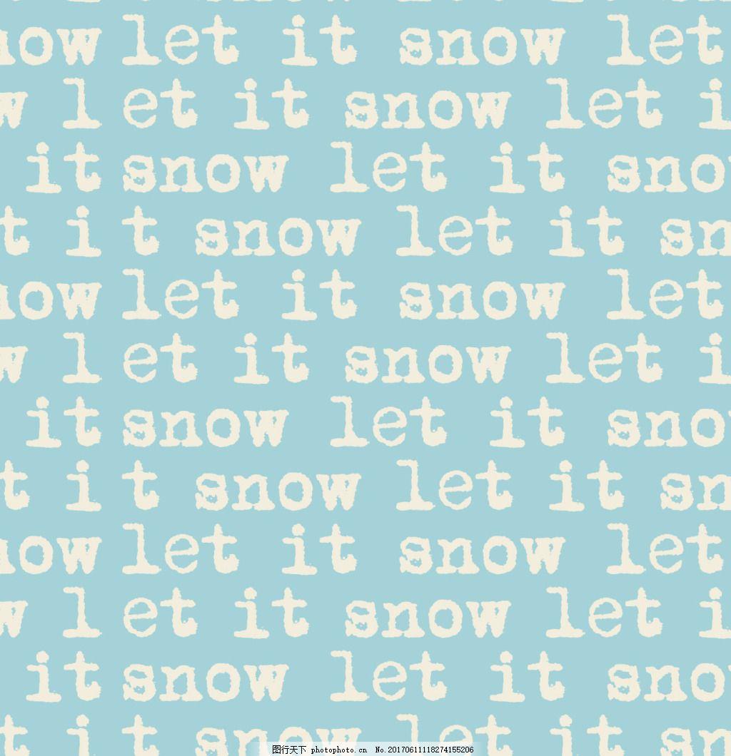 手写英文可爱下雪主题服装图案矢量素材