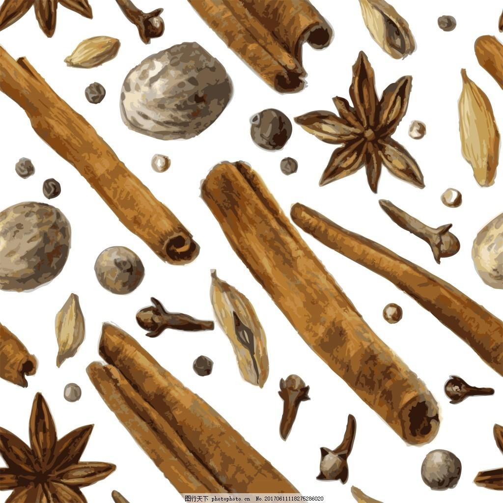 桂皮调味料矢量素材 手绘 咖啡色 卡通 花椒 调料 背景