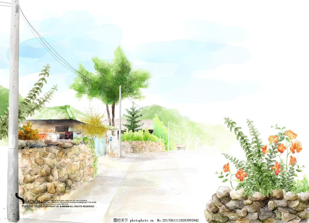 卡通手绘街道简约背景 艺术花纹 经典花纹 韩国时尚花纹 背景底纹
