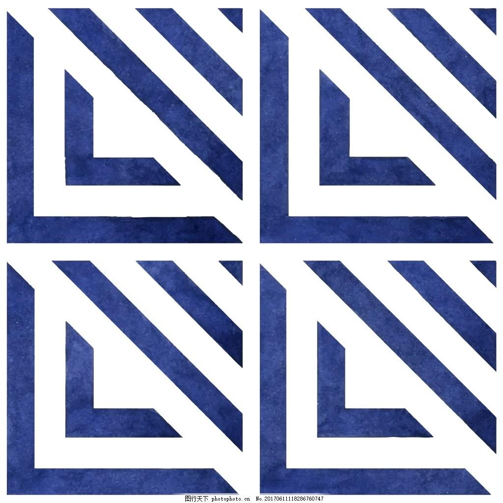蓝色 斜线 卡通 创意 小清新 手绘 水彩 填充 纹理 矢量 背景 素材