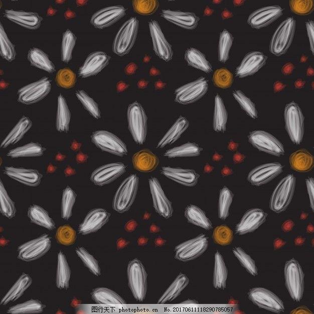 黑色背景下的花卉图案 背景 图案 花卉 自然 手绘 春天 涂鸦 素描