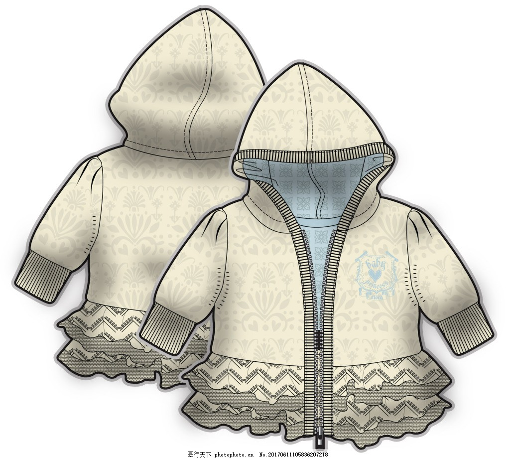 黄色 拉链 儿童服装设计 可爱 矢量 手绘 保暖 线条 素材 设计 源文件