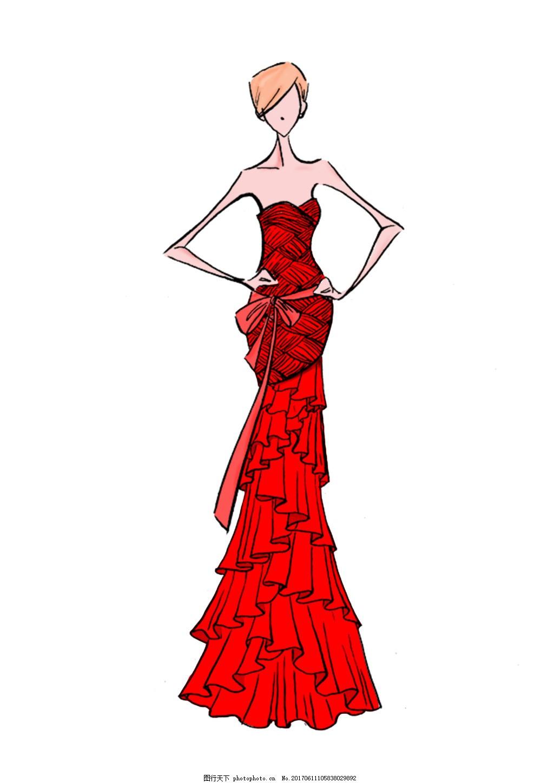 服装效果图 psd分层 服装手绘图 服装画 服装设计 礼服 psd分层